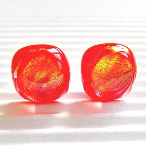 Ragyogó napsugár bedugós dichroic üveg fülbevaló orvosi fém bedugón, üvegékszer - ékszer - fülbevaló - pötty fülbevaló - Meska.hu