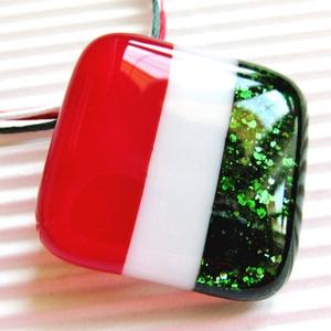 Kokárda üveg medál, NEMESACÉL, üvegékszer, Ékszer, Nyaklánc, Medálos nyaklánc, Ékszerkészítés, Üvegművészet, Meska