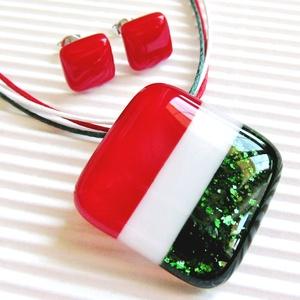 Honleány üveg medál és fülbevaló NEMESACÉL/ORVOSI FÉM, üvegékszer szett, Ékszer, Ékszerszett, Ékszerkészítés, Üvegművészet, Meska