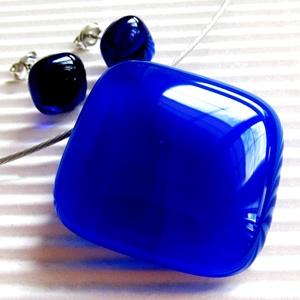 AKCIÓ! - Mélykék tengermély üveg medál és fülbevaló, üvegékszer szett, Ékszer, Ékszerszett, Ékszerkészítés, Üvegművészet, Meska