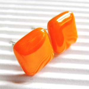 AKCIÓ! - Narancs kocka üveg fülbevaló, üvegékszer - Meska.hu
