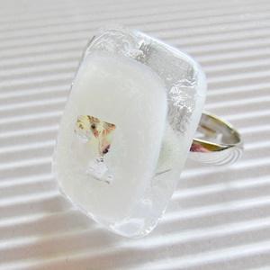 Fehér platina ragyogás üveg gyűrű, üvegékszer - Meska.hu