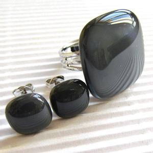 Grafit szürke üveg gyűrű és fülbevaló orvosi fém bedugón, üvegékszer szett, Ékszer, Ékszerszett, Ékszerkészítés, Üvegművészet, Meska