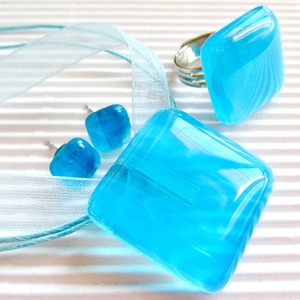 Égszínkék tükörfény üveg gyűrű és fülbevaló orvosi fém bedugón, üvegékszer szett - ékszer - ékszerszett - Meska.hu