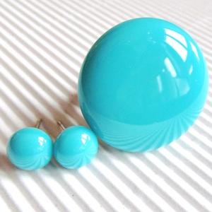Türkiz kerek maxi üveg gyűrű és pötty fülbevaló, üvegékszer szett, Ékszer, Ékszerszett, Ékszerkészítés, Üvegművészet, Meska