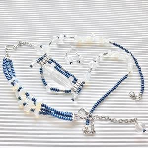 AKCIÓ! - Blue jeans nyakék és lógós fülbevaló ékszerszett, üveggyöngy, gyöngyékszer - Meska.hu