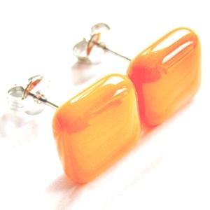 AKCIÓ! - Mandarin kocka üveg fülbevaló, üvegékszer, Ékszer, Fülbevaló, Pötty fülbevaló, Ékszerkészítés, Üvegművészet, AKCIÓ! Nikkelmentes alapra szerelt bedugós és lógós fülbevalóimat kifuttatom, ha most vásárolsz 3 pá..., Meska