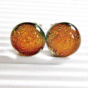 Narancs-arany ragyogás bedugós dichroic üveg fülbevaló ORVOSI FÉM bedugón, üvegékszer, Ékszer, Fülbevaló, Pötty fülbevaló, Ékszerkészítés, Üvegművészet, Meska