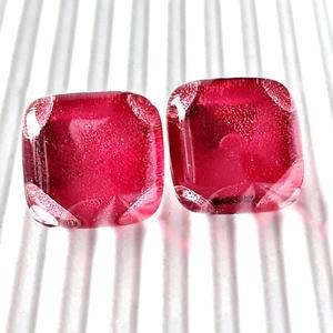 Málna - pink kocka üveg fülbevaló, üvegékszer - Meska.hu