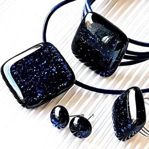 Csillagfényes éjszaka sötétkék üveg medál, karkötő, gyűrű és fülbevaló NEMESACÉL/ORVOSI FÉM, üvegékszer szett - Meska.hu