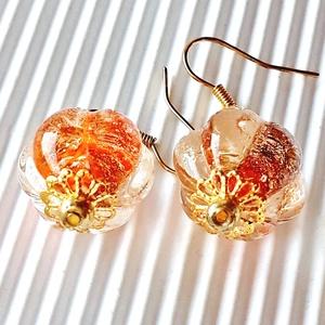AKCIÓ! - Arany bimbó üveg fülbevaló, üveggyöngy, Ékszer, Fülbevaló, Lógós fülbevaló, Ékszerkészítés, Gyöngyfűzés, gyöngyhímzés, LÓGÓS GYÖNGY FÜLBEVALÓ AKCIÓ BOLTOMBAN!\n\nNagy, áttetsző, virág formájú üveggyöngyökből készítettem e..., Meska