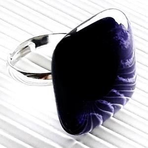 Ametiszt lila kocka üveg gyűrű, üvegékszer, Ékszer, Gyűrű, Statement gyűrű, Ékszerkészítés, Üvegművészet, Meska