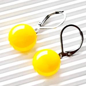 Orvosi fém francia kapcsos alapon Élénk sárga lógós üveg fülbevaló , üvegékszer - ékszer - fülbevaló - lógós kerek fülbevaló - Meska.hu