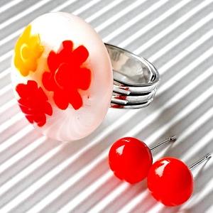 Végtelen nyár üveg gyűrű és narancs pötty bedugós üveg fülbevaló szett, üvegékszer szett, Ékszer, Ékszerszett, Ékszerkészítés, Üvegművészet, Meska