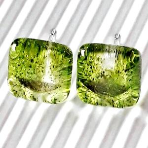 AKCIÓ! - Aranyos-zöld csillámfény bedugós üveg fülbevaló, üvegékszer, Ékszer, Fülbevaló, Ékszerkészítés, Üvegművészet, AKCIÓ! Nikkelmentes alapra szerelt bedugós és lógós fülbevalóimat kifuttatom, ha most vásárolsz 3 pá..., Meska