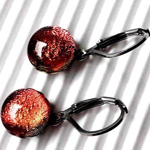 Vörös-bronz francia kapcsos dichroic fülbevaló ORVOSI FÉM alapon, üvegékszer , Ékszer, Fülbevaló, Lógós kerek fülbevaló, Ékszerkészítés, Üvegművészet, Meska