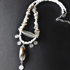 AKCIÓ! - Vénusz achát ásvány nyakék, üveggyöngy, gyöngyékszer, Ékszer, Nyaklánc, Gyöngyös nyaklác, Ékszerkészítés, Gyöngyfűzés, gyöngyhímzés, Meska