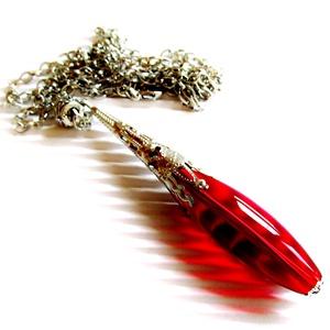 Rubin gyöngy-csepp üveg-gyöngy medál, üveggyöngy ékszer, Ékszer, Nyaklánc, Hosszú nyaklánc, Ékszerkészítés, Gyöngyfűzés, gyöngyhímzés, Meska