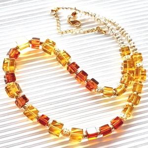 AKCIÓ! - Aranyló karnevál kocka gyöngy nyakék, üveggyöngy, Ékszer, Nyaklánc, Statement nyaklánc, Ékszerkészítés, Gyöngyfűzés, gyöngyhímzés, Meska