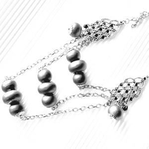 AKCIÓ - Ezüst csipke gyöngyös lánc nyakék és karkötő, gyöngy ékszer - Meska.hu