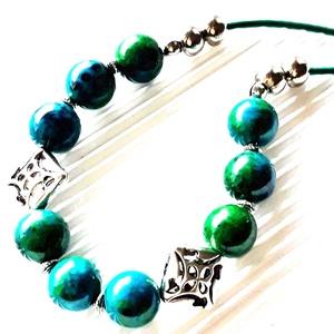 A smaragd románca krizokolla gyöngy nyakék, statement nyaklánc, ásvány ékszer, Ékszer, Nyaklánc, Statement nyaklánc, Ékszerkészítés, Gyöngyfűzés, gyöngyhímzés, AKCIÓ: 3 db nyakék egy kosárban vásárlásakor a 3. árából 50 % engedményt adok. 4 db gyöngyfűzött nya..., Meska