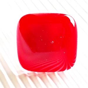 Meggypiros üveg gyűrű, üvegékszer, Ékszer, Gyűrű, Statement gyűrű, Ékszerkészítés, Üvegművészet, AKCIÓ! - 3 BÁRMILYEN TERMÉK vásárlása esetén a harmadikból 50 % KEDVEZMÉNY, akár INGYEN POSTÁZÁS és ..., Meska