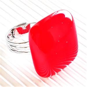 Ferrari piros kocka üveg gyűrű, üvegékszer, Ékszer, Gyűrű, Statement gyűrű, Ékszerkészítés, Üvegművészet, Meska