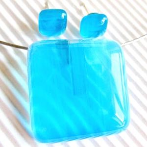 Égszínkék tükörfény üveg medál és fülbevaló, üvegékszer szett - Meska.hu