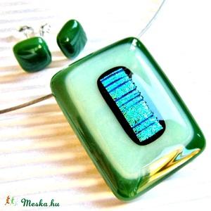 Szélforgó smaragdban üveg medál és fülbevaló, NEMESACÉL, üvegékszer szett, nyaklánc, Ékszer, Ékszerszett, Ékszerkészítés, Üvegművészet, Meska