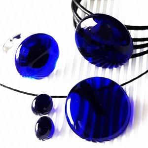 Sejtelmes királykék kerek üveg medál, fülbevaló, karkötő és gyűrű, üvegékszer szett, Ékszer, Ékszerszett, Ékszerkészítés, Üvegművészet, Meska