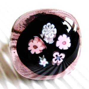 Éjféli mályva virágzuhatag üveg gyűrű, millefiori, üvegékszer, Ékszer, Gyűrű, Statement gyűrű, Ékszerkészítés, Üvegművészet, AKCIÓ! - 3 BÁRMILYEN TERMÉK vásárlása esetén a harmadikból 50 % KEDVEZMÉNY, akár INGYEN POSTÁZÁS és ..., Meska