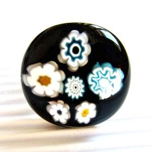 Fekete-türkiz virágfüzér üveg gyűrű, millefiori, üvegékszer - Meska.hu