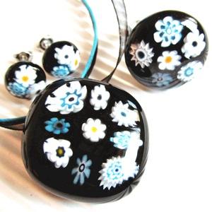 Fekete-türkiz virágfüzér üveg gyűrű, millefiori, üvegékszer - ékszer - gyűrű - statement gyűrű - Meska.hu