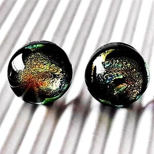 Arany-türkiz éjfél bedugós dichroic üveg fülbevaló orvosi fém alapon, üvegékszer, Ékszer, Fülbevaló, Pötty fülbevaló, Ékszerkészítés, Üvegművészet, Meska