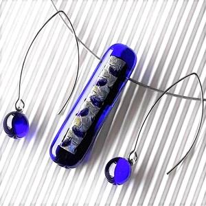 Ezüst fényű holdsugár elegáns üveg medál és fülbevaló orvosi fém bedugón, üvegékszer szett - Meska.hu