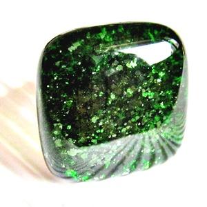 Szikrázó mohaszőnyeg sötétzöld üveg gyűrű, üvegékszer, Ékszer, Gyűrű, Statement gyűrű, Ékszerkészítés, Üvegművészet, Meska