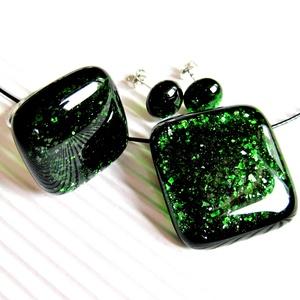 Szikrázó mohaszőnyeg sötétzöld üveg medál, gyűrű és fülbevaló NEMESACÉL/ORVOSI FÉM, üvegékszer szett - Meska.hu