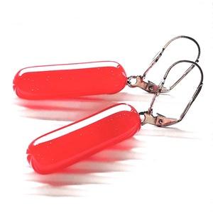 Meggypiros gumicukor francia kapcsos üveg fülbevaló nemesacél alapon , üvegékszer - ékszer - fülbevaló - lógó fülbevaló - Meska.hu