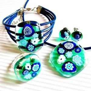 Kéknefelejcs zöldben üveg  medál, karkötő, gyűrű és fülbevaló, NEMESACÉL/ORVOSI FÉM, millefiori üvegékszer szett - Meska.hu