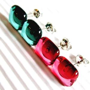 Menta - málna üveg fülbevaló csomag orvosi fém bedugós alapon, üvegékszer szett - ékszer - fülbevaló - pötty fülbevaló - Meska.hu