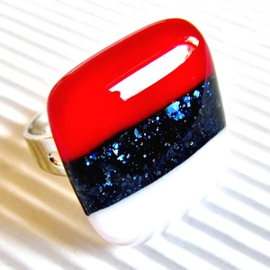 Tengerész üveg gyűrű, üvegékszer, Ékszer, Gyűrű, Statement gyűrű, Ékszerkészítés, Üvegművészet, AKCIÓ! - 3 BÁRMILYEN TERMÉK vásárlása esetén a harmadikból 50 % KEDVEZMÉNY, akár INGYEN POSTÁZÁS és ..., Meska