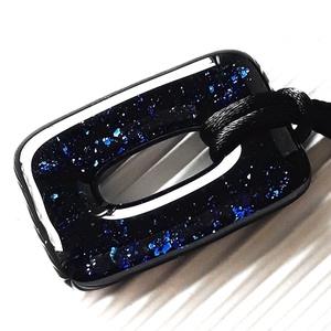 Csillagfényes éjszaka sötétkék maxi fémmentes elegáns üveg medál, üvegékszer, Ékszer, Nyaklánc, Medálos nyaklánc, Ékszerkészítés, Üvegművészet, Meska