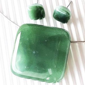 Ezüstös erdő üveg medál és fülbevaló orvosi fém bedugón, üvegékszer szett - Meska.hu
