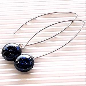Csillagfény szikrázó kék aventurin lógós üveg fülbevaló design orvosi fém akasztón, üvegékszer - Meska.hu