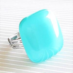 Akvamarin üveg kocka gyűrű, üvegékszer, Ékszer, Gyűrű, Statement gyűrű, Ékszerkészítés, Üvegművészet, Meska