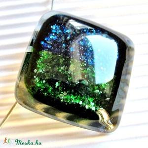 Jégkirálynő álma üveg medál NEMESACÉL akasztón, nyaklánc, üvegékszer, Ékszer, Nyaklánc, Medálos nyaklánc, Ékszerkészítés, Üvegművészet, Meska