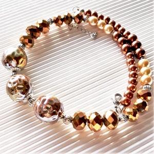 Arany-bronz ragyogás statement nyaklánc, nyakék, üveggyöngy ékszer, Ékszer, Nyaklánc, Statement nyaklánc, Ékszerkészítés, Gyöngyfűzés, gyöngyhímzés, AKCIÓ: \n3 db nyakék egy kosárban vásárlásakor a 3. árából 50 % engedményt adok. \n4 db gyöngyfűzött n..., Meska