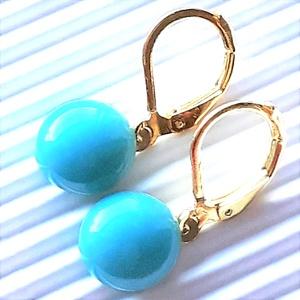 Aranyos akvamarin üveg fülbevaló arany színű. franciakapcsos akasztón, üvegékszer, Ékszer, Fülbevaló, Lógós kerek fülbevaló, Ékszerkészítés, Üvegművészet, Meska