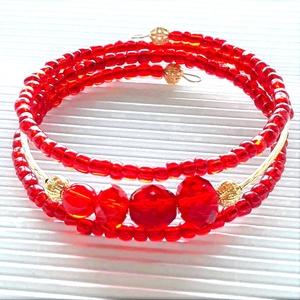 Aranyos rubin vörös gyöngy karkötő, üveggyöngy ékszer, Ékszer, Karkötő, Gyöngyös karkötő, Ékszerkészítés, Gyöngyfűzés, gyöngyhímzés, Meska