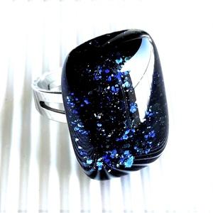 Csillagfényes elegancia üveggyűrű nemesacél alapon, üvegékszer , Ékszer, Ékszerszett, Ékszerkészítés, Üvegművészet, Meska